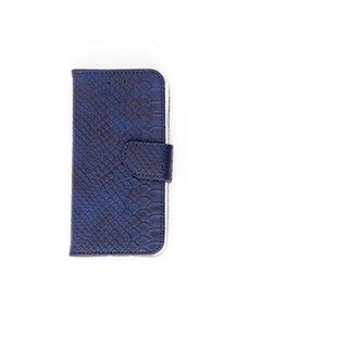 Schubben design Lederen Bookcase hoesje voor de Apple iPhone 7 - Donkerblauw