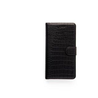 Krokodillen design Lederen Bookcase hoesje voor de Apple iPhone X - Zwart