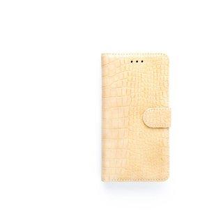 Krokodillen design Lederen Bookcase hoesje voor de Apple iPhone X - Zandcrème