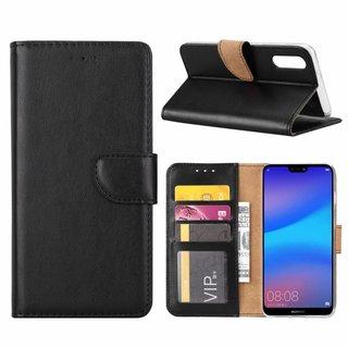 Luxe Lederen Bookcase hoesje voor de Huawei P20 - Zwart