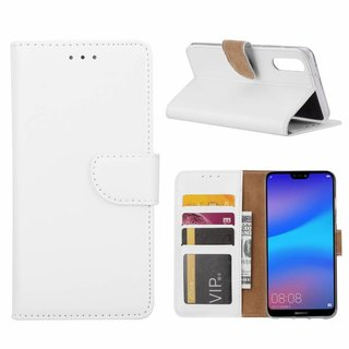 Luxe Lederen Bookcase hoesje voor de Huawei P20 - Wit