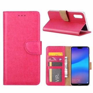 Luxe Lederen Bookcase hoesje voor de Huawei P20 - Roze