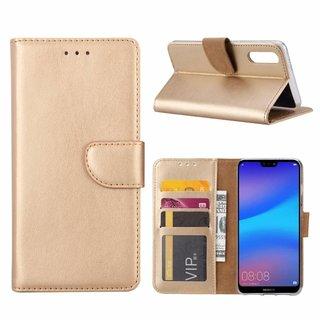Luxe Lederen Bookcase hoesje voor de Huawei P20 - Goud