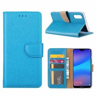 Luxe Lederen Bookcase hoesje voor de Huawei P20 - Blauw