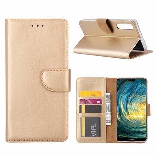 Luxe Lederen Bookcase hoesje voor de Huawei P20 Pro - Goud