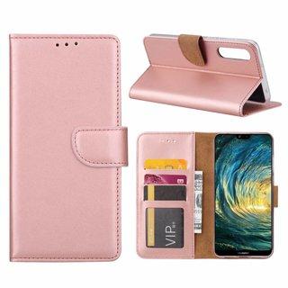 Luxe Lederen Bookcase hoesje voor de Huawei P20 Pro - Metallic Roze