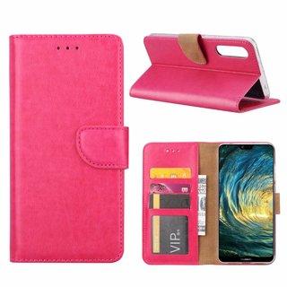 Luxe Lederen Bookcase hoesje voor de Huawei P20 Pro - Roze