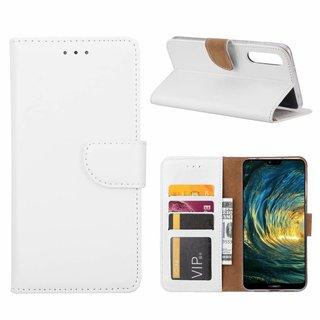 Luxe Lederen Bookcase hoesje voor de Huawei P20 Pro - Wit