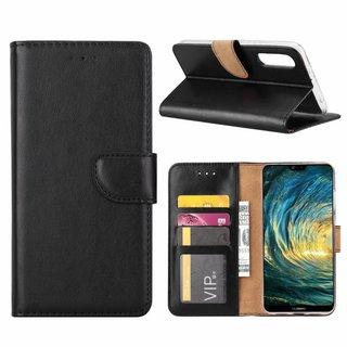 Luxe Lederen Bookcase hoesje voor de Huawei P20 Pro - Zwart