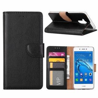 Luxe Lederen Bookcase hoesje voor de Huawei Nova Smart - Zwart