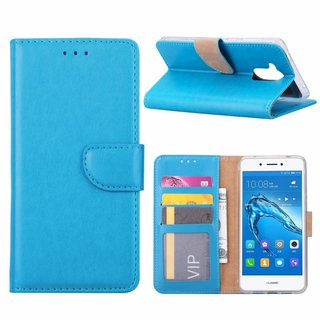 Luxe Lederen Bookcase hoesje voor de Huawei Nova Smart - Blauw