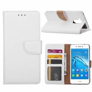 Luxe Lederen Bookcase hoesje voor de Huawei Nova Smart - Wit