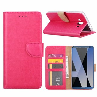 Luxe Lederen Bookcase hoesje voor de Huawei Mate P10 - Roze