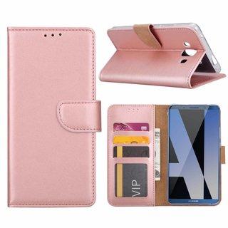 Luxe Lederen Bookcase hoesje voor de Huawei Mate P10 - Metallic Roze