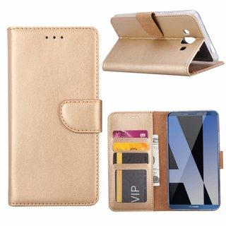 Luxe Lederen Bookcase hoesje voor de Huawei Mate P10 - Goud