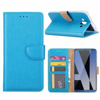 Luxe Lederen Bookcase hoesje voor de Huawei Mate P10 - Blauw