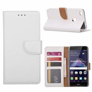 Luxe Lederen Bookcase hoesje voor de Huawei P8 Lite 2017 - Wit
