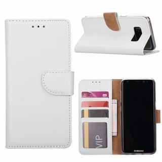 Luxe Lederen Bookcase hoesje voor de Samsung Galaxy S8 - Wit