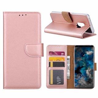Luxe Lederen Bookcase hoesje voor de Samsung Galaxy S9 - Metallic Roze