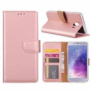 Luxe Lederen Bookcase hoesje voor de Samsung Galaxy J4 2018 - Metallic Roze
