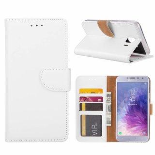 Luxe Lederen Bookcase hoesje voor de Samsung Galaxy J4 2018 - Wit