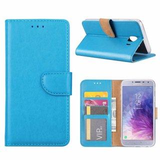 Luxe Lederen Bookcase hoesje voor de Samsung Galaxy J4 2018 - Blauw