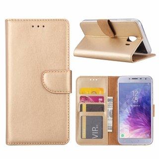 Luxe Lederen Bookcase hoesje voor de Samsung Galaxy J4 2018 - Goud