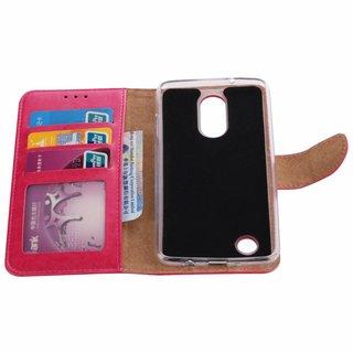 Luxe Lederen Bookcase hoesje voor de LG K8 2017 - Roze