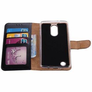 Luxe Lederen Bookcase hoesje voor de LG K8 2017 - Zwart