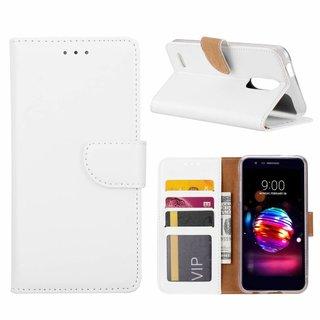 Luxe Lederen Bookcase hoesje voor de LG K10 2018 - Wit