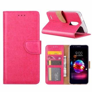 Luxe Lederen Bookcase hoesje voor de LG K10 2018 - Roze