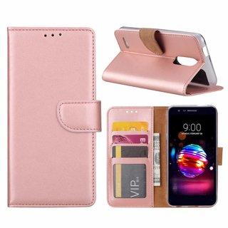 Luxe Lederen Bookcase hoesje voor de LG K10 2018 - Metallic Roze
