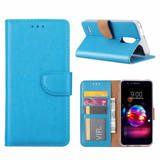 Luxe Lederen Bookcase hoesje voor de LG K10 2018 - Blauw