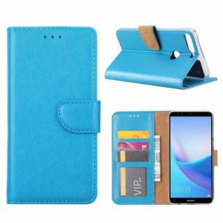 Luxe Lederen Bookcase hoesje voor de Huawei Y7 Prime 2018 - Blauw