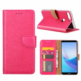 Luxe Lederen Bookcase hoesje voor de Huawei Y7 Prime 2018 - Roze