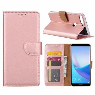 Luxe Lederen Bookcase hoesje voor de Huawei Y7 Prime 2018 - Metallic Roze