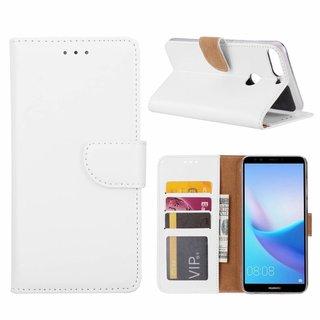 Luxe Lederen Bookcase hoesje voor de Huawei Y7 Prime 2018 - Wit