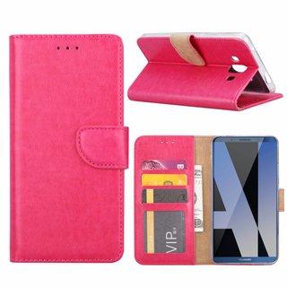 Luxe Lederen Bookcase hoesje voor de Huawei Mate 10 - Roze