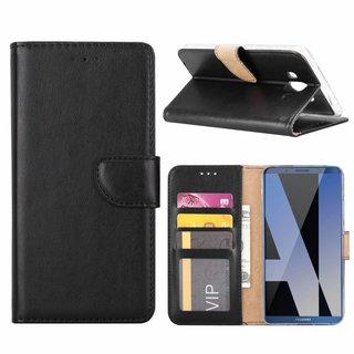 Luxe Lederen Bookcase hoesje voor de Huawei Mate 10 - Zwart