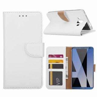 Luxe Lederen Bookcase hoesje voor de Huawei Mate 10 - Wit