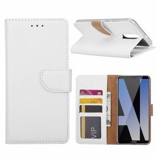 Luxe Lederen Bookcase hoesje voor de Huawei Mate 10 Lite - Wit