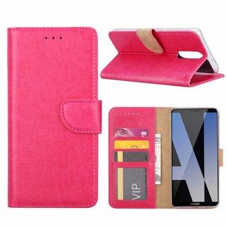 Luxe Lederen Bookcase hoesje voor de Huawei Mate 10 Lite - Roze