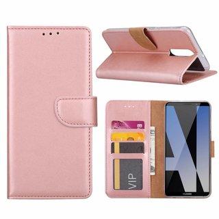 Luxe Lederen Bookcase hoesje voor de Huawei Mate 10 Lite - Metallic Roze