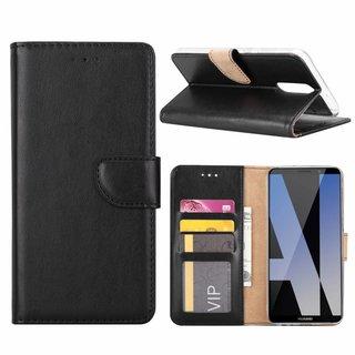 Luxe Lederen Bookcase hoesje voor de Huawei Mate 10 Lite - Zwart