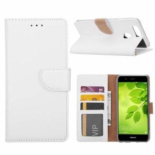 Luxe Lederen Bookcase hoesje voor de Huawei Nova 2 Plus - Wit