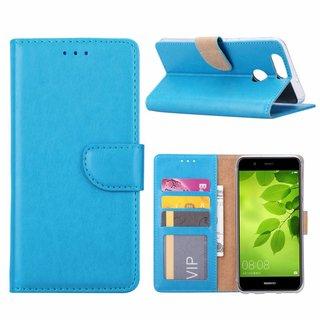 Luxe Lederen Bookcase hoesje voor de Huawei Nova 2 Plus - Blauw