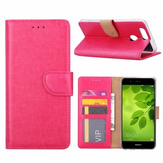 Luxe Lederen Bookcase hoesje voor de Huawei Nova 2 Plus - Roze