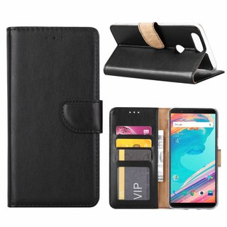 Luxe Lederen Bookcase hoesje voor de OnePlus 5T - Zwart
