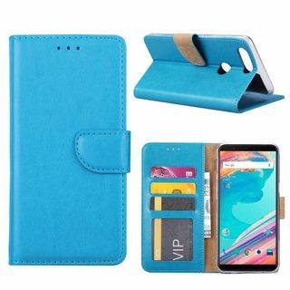 Luxe Lederen Bookcase hoesje voor de OnePlus 5T - Blauw