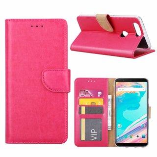 Luxe Lederen Bookcase hoesje voor de OnePlus 5T - Roze